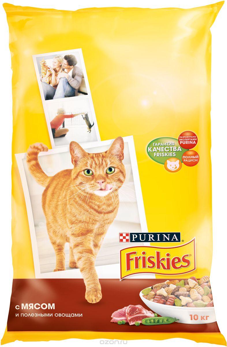 Friskies, для взрослых кошек, с мясом, курицей и печенью
