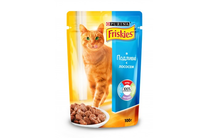 Консервы для кошек Purina Friskies, лосось с подливом