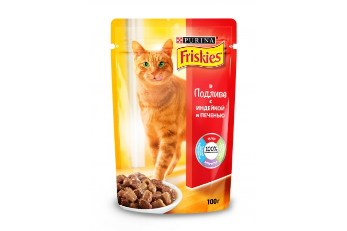 Консервы для кошек Purina Friskies с индейкой и печенью