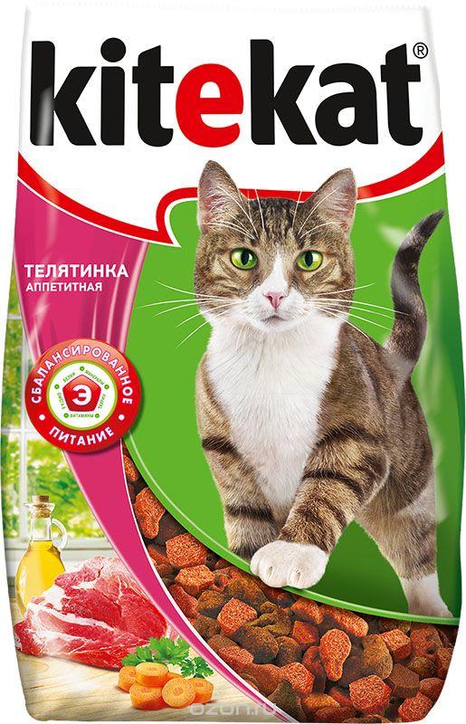 Корм сухой для кошек Kitekat телятина аппетитная