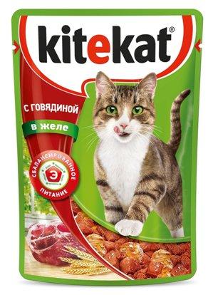 Kitekat паучи с говядиной в желе для кошек