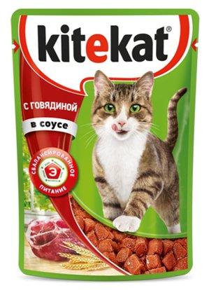 Kitekat паучи с говядиной в соусе для кошек
