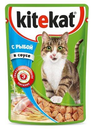 Kitekat паучи с рыбой в соусе для кошек