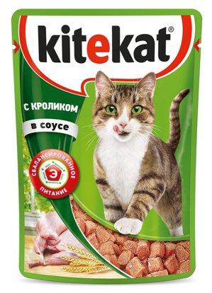 Kitekat паучи с кроликом в соусе для кошек