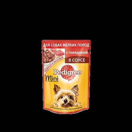 PEDIGREE для взрослых собак мелких пород в соусе с говядиной